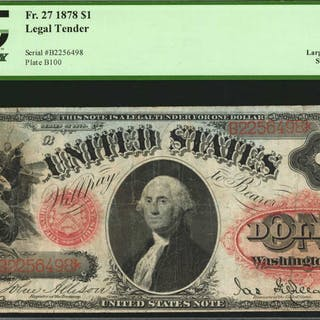 Fr. 27. 1878 $1  Legal Tender Note. PCGS Currency Very Fine 20 Apparent.