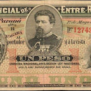 ARGENTINA. Banco Provincial de Entre-Rios. 1 Peso, 1885. P-S767r.