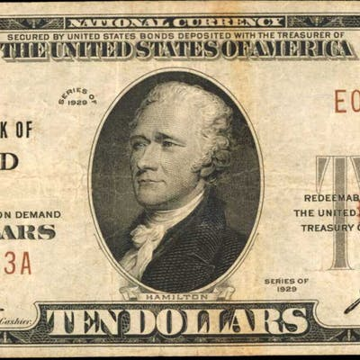 Oxford, New York. 1929 Ty. 1 $10 Fr. 1801-1. The First NB. Charter