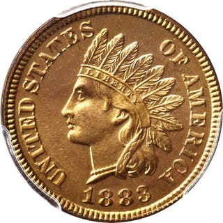 1883 Indian Cent. Snow-PR3. Proof-66+ RD (PCGS). CAC.