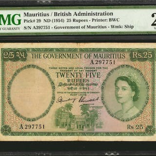 MAURITIUS. Government of Mauritius. 25 Rupees, ND (1954). P-29. PMG