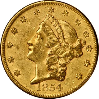 1854 Liberty Head Double Eagle. Large Date. AU-53 (PCGS).