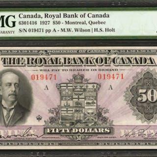 CANADA. Royal Bank of Canada. 50 Dollars. 1927. CH #6301416. PMG Gem