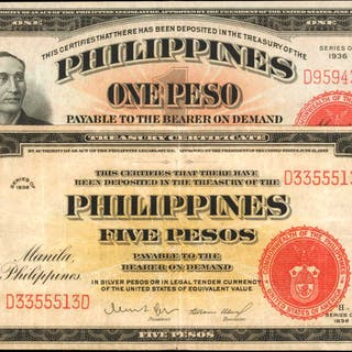 PHILIPPINES. Philippine Islands Treasury Certificates. 1 & 5 Pesos