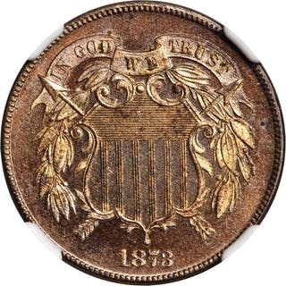 1873 Two-Cent Piece. Close 3. Proof-64+ RD Cameo (NGC).