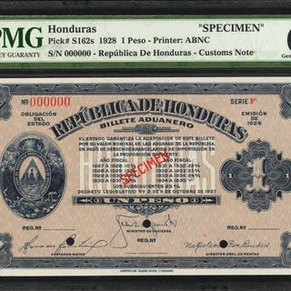 HONDURAS. Republica de Honduras. 1 Peso, 1928. P-S162s. Specimen.
