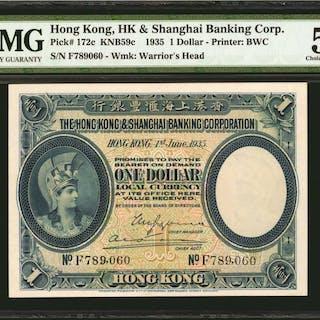HONG KONG. HK & Shanghai Banking Corp. 1 Dollar, 1935. P-172c. PMG