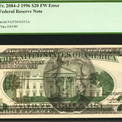 Fr. 2084-J. 1996 $20 Federal Reserve Note. Kansas City. PCGS Currency