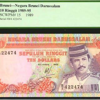 BRUNEI. Negara Brunei Darussalam. 5 & 10 Ringgit, 1989-93. P-14 &15.