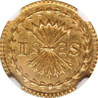 NETHERLANDS. Holland. Gold Off-Metal Stuiver, 1750. NGC MS-63.