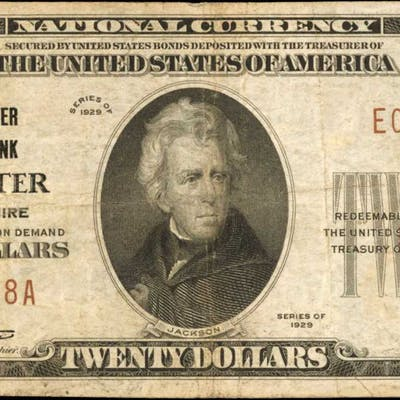 Lancaster, New Hampshire. $20 1929 Ty. 1. Fr. 1802-1. The Lancaster