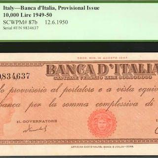 ITALY. Banca d'Italia. 10,000 Lire, 1949-50. P-87b. PMG Choice Extremely