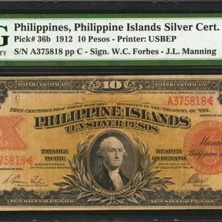 PHILIPPINES. Philippine Islands Silver Certificate. 10 Pesos, 1912.