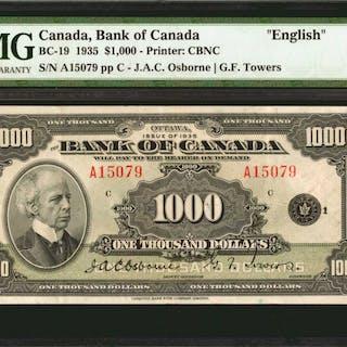 CANADA. Bank of Canada. 1000 Dollars, 1935. P-BC-19. English. PMG