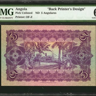 ANGOLA. NB. 5 Angolares, ND. P-Unlisted. Back Printers Design. PMG