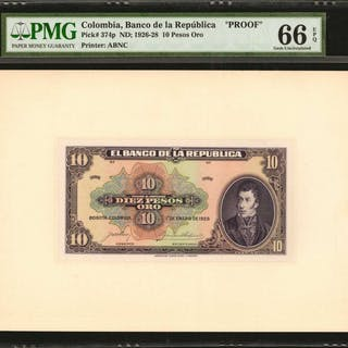 COLOMBIA. Banco de la Republica. 10 Pesos Oro, January 1, 1926. P-374p.