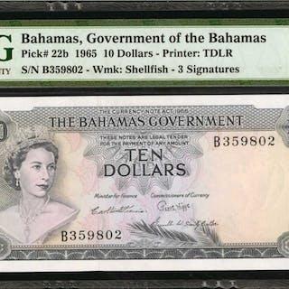 BAHAMAS. Government of Bahamas. 10 Dollars, 1965. P-22b. PMG Gem Uncirculated