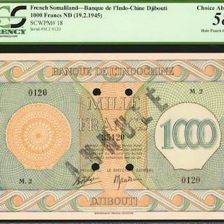 FRENCH SOMALILAND. Banque de l'Indo-Chine, Djibouti. 1000 Francs