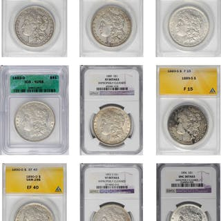 Lot of (9) Certified Morgan Silver Dollars.