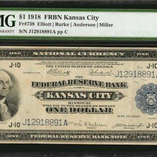 Fr. 738. 1918 $1  Federal Reserve Bank Note. Kansas City. PMG Very Fine 30.