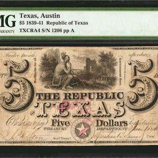Austin, Texas. Republic of Texas. 1839-41  $5. PMG Very Fine 25.