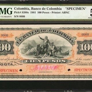 COLOMBIA. Banco de Colombia. 100 Pesos, December 15, 1881. P-S388s.