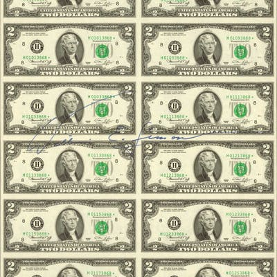 Fr.1935-H* 1976 $2 Federal Reserve Star Notes. St. Louis. Uncut Sheet