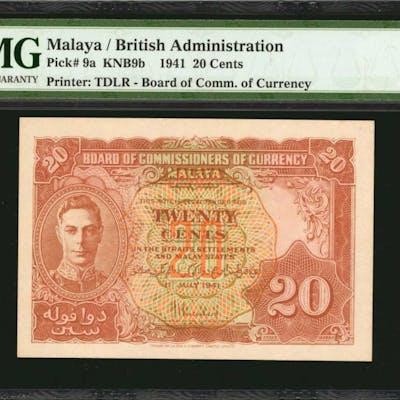 MALAYA. British Administration. 20 Cents, 1941. P-9a. PMG Gem Uncirculated