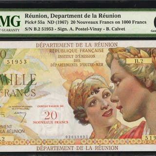 REUNION. Department de la Reunion. 20 Nouveaux Francs, ND (1967).