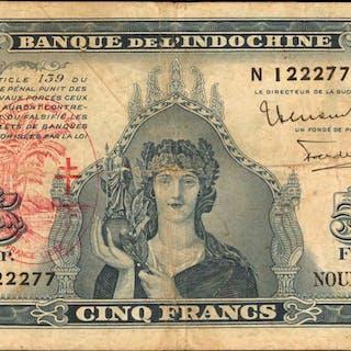 NEW HEBRIDES. Banque de l'IndoChine. 5 Francs, 1945. P-5. Very Fine.