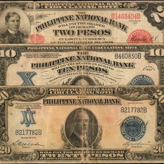 PHILIPPINES. Philippine National Bank. 2, 10 & 20 Pesos, 1921. P-52