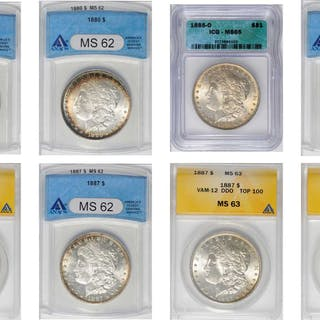 Lot of (8) Certified Mint State Morgan Silver Dollars.