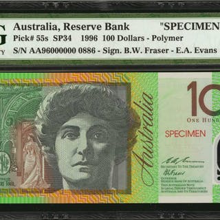 AUSTRALIA. Reserve Bank of Australia. 100 Dollars, 1996. P-55s. Specimen.