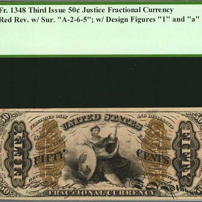 Fr. 1348. 50 Cents. Third Issue. PCGS Currency Choice About New 58 PPQ.