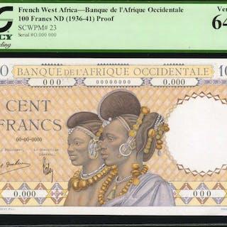 FRENCH WEST AFRICA. Banque de l'Afrique Occidentale. 100 Francs, ND