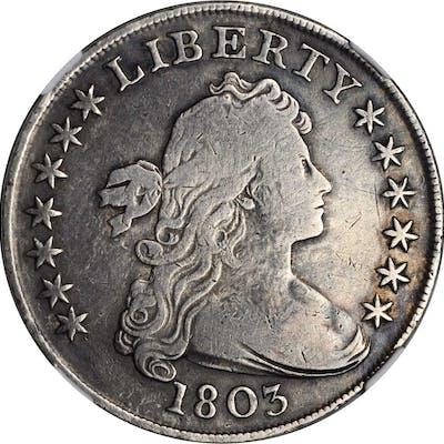 1803 Draped Bust Silver Dollar. BB-255, B-6. Rarity-2. Large 3. VG