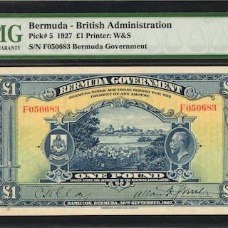 BERMUDA. Bermuda Government. 1 Pound, 1927. P-5. PMG Choice Very Fine 35.
