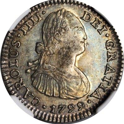 MEXICO. Real, 1799-Mo FM. Mexico City Mint. Charles IV. NGC AU-58.