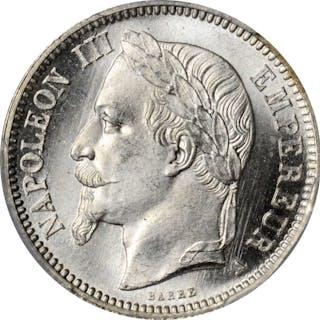 FRANCE. Franc, 1868-A. Paris Mint. Napoleon III. PCGS MS-66 Gold Shield.