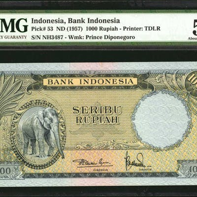 INDONESIA. Bank Indonesia. 1000 & 2500 Rupiah, ND (1957). P-53 & 54.