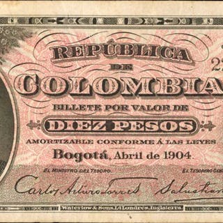 COLOMBIA. Republica de Colombia. 10 Pesos, 1904. P-312. Very Fine.