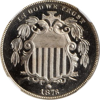 1876 Shield Nickel. Proof-68 Ultra Cameo (NGC).