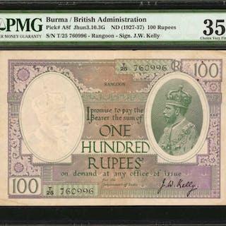 BURMA. British Administration. 100 Rupees, ND (1927-37). P-A8f. PMG