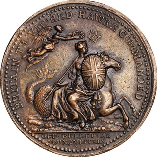 GREAT BRITAIN. Battle of Belleisle Bronze Medal, 1759. George II.