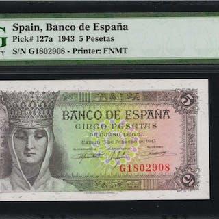 SPAIN. Banco de Espana. 5 Pesetas, 1943. P-127a. PMG Gem Uncirculated 66 EPQ.
