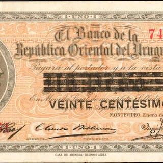 URUGUAY. Banco de la Republica Oriental del Uruguay. 20 Centesimos