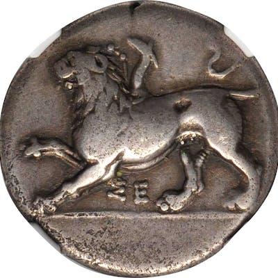 PELOPONNESOS. Sikyonia. Sikyon. AR Drachm, ca. 335-330 B.C. NGC Ch F.