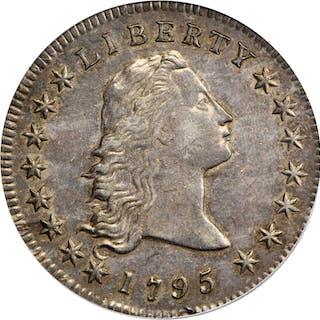 1795 Flowing Hair Silver Dollar. BB-21, B-1. Rarity-2. Two Leaves.