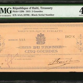 HAITI. Republique d'Haiti. 5 Gourdes, 1915. P-129b. PMG Extremely Fine 40.