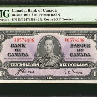 CANADA. Bank of Canada. 10 Dollars, 1937. BC-24c. PMG Choice Extremely